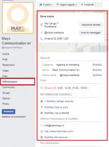 Pagina informazioni della fanpage facebook di mayo communication