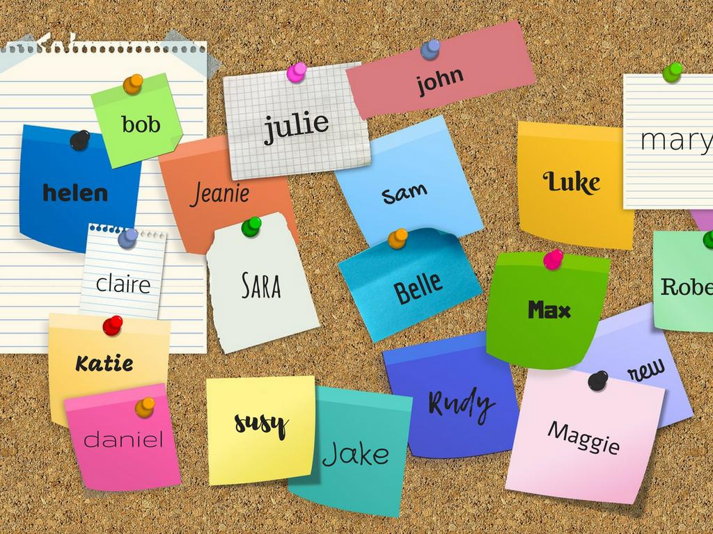 Bacheca con post-it e nomi di persone