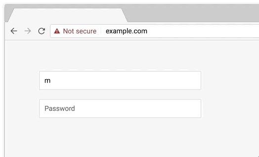 ricerca di un sito nel browser dove appare la scritta not secure in rosso