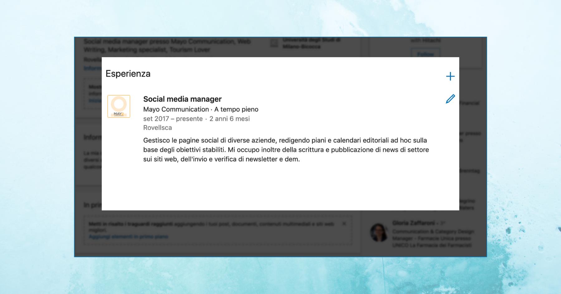 Schermata di un box esperienze di LinkedIn compilato nel dettaglio