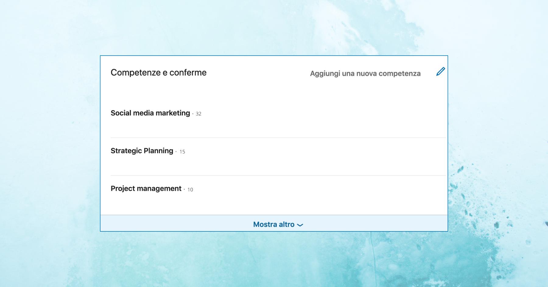Schermata di inserimento Skill di LinkedIn
